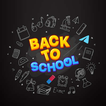 Back to school vector banner. Illustration with doodle elements ans logo