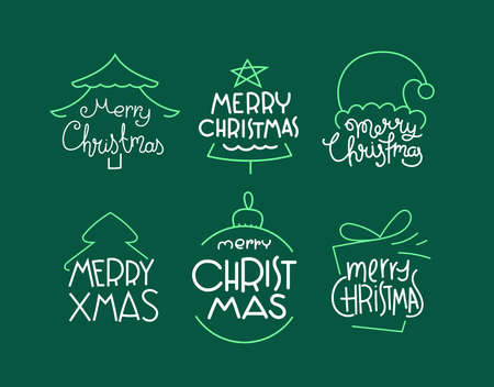 Merry Christmas vector labels set