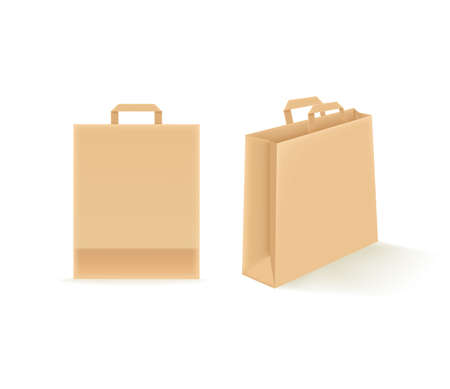 Empty paper shopping bags isolated on white. Vector mockup