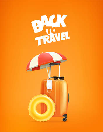 Back to travel. Orange bag with beach umbrella, floater and medical mask. Travel after pandemic