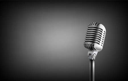 Vintage style microphone in studio. Banner with copy space