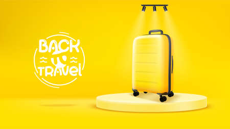 Bright yellow scene with yellow bag. Back to travel concept Foto de archivo