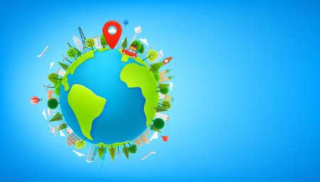 Travel concept vector illustration with the Earth. Cute 3d style illustration with copy space Vektoros illusztráció