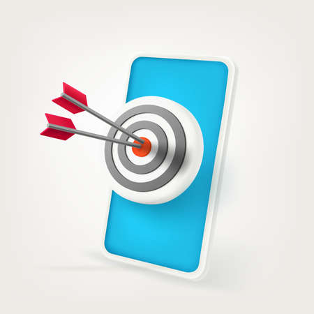 Accuracy in the aim. Success concept in 3d style vector