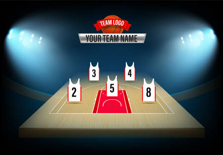 Basketball team formation template. Illuminated stadium with players