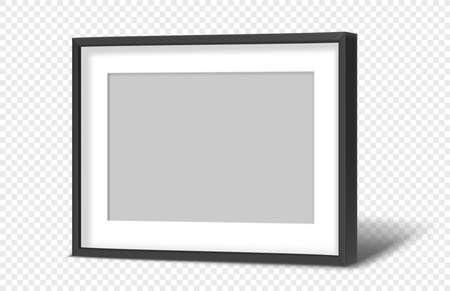 Black modern horizontal photo frame on transparent background