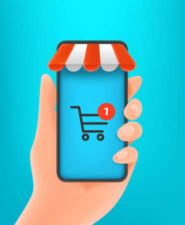 Man holding mobile phone with shopping application