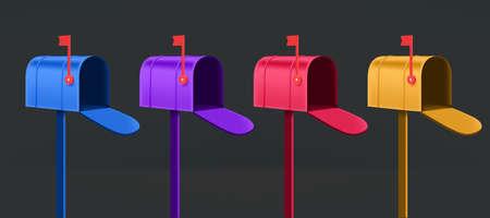 Different color mail boxes vector set