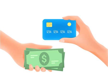 Money transfer concept. 3d style vector illustration