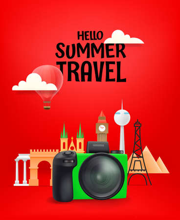 Hello summer travel concept. World travel vector illustration with famous monuments 版權商用圖片