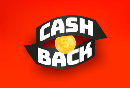 Cash back red banner with arrows and gol coin 向量圖像