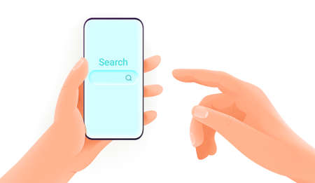 Man holding smartphone and using search engine