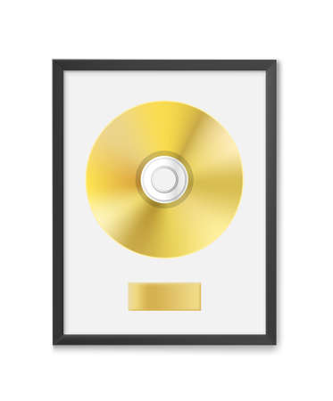 Golden CD with label in frame on wall