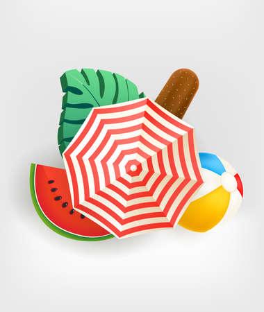 Summer banner with umbrella and beach stuff 向量圖像