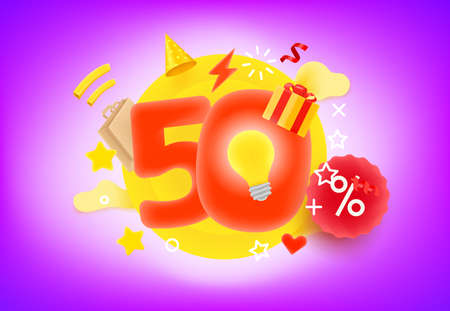 50 shopping percent discount concept. 3d style cute vector illustration