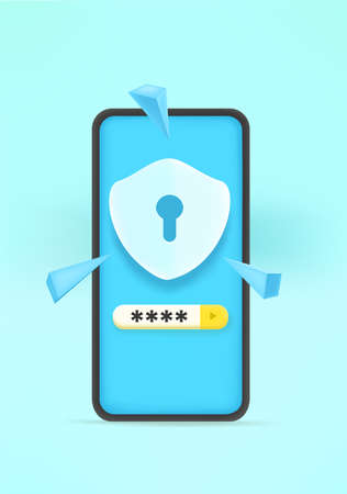 Security password entering concept. 3d style vector illustration 向量圖像