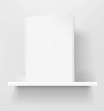 White book on white shelf. 3d style realistic vector mock up