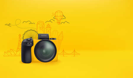 Yellow camera with world sights. Travel banner with copy space 向量圖像