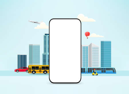 Smartphone mockup with city different transport and cityscape 向量圖像