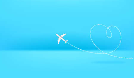 Airplane drawing heart sign. Horizontal banner with copy space