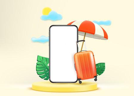 Summer travel. Smartphone mockup with beach stuff