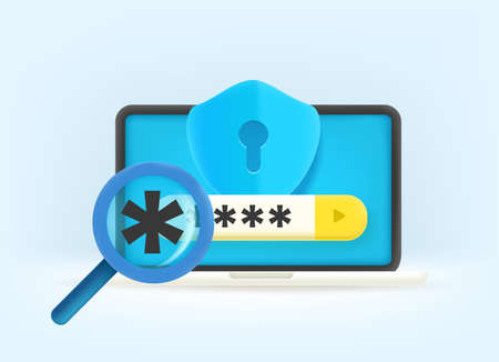 Password guessing concept. 3d style vector illustration