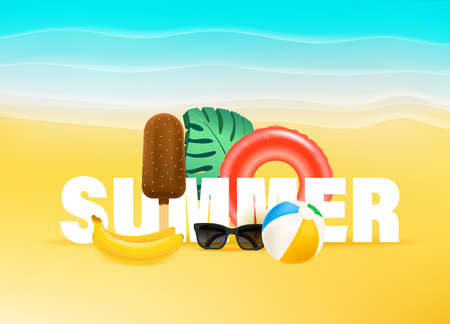 Summer banner with tropical fruits and beach stuff 向量圖像