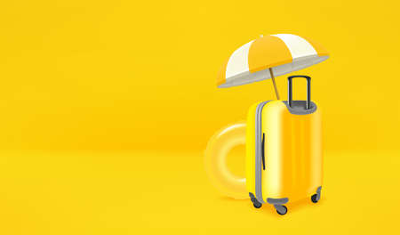 Beach stuff on yellow background. Vector banner with copy space 向量圖像