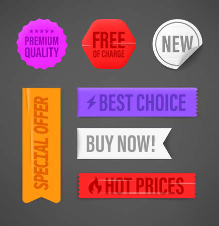 Different color shopping tags with inscriptions