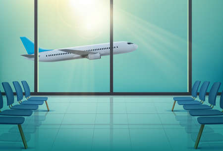 Airplane in windows of airport waiting hall