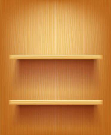 Wooden wall and book shelf. Template for place objects