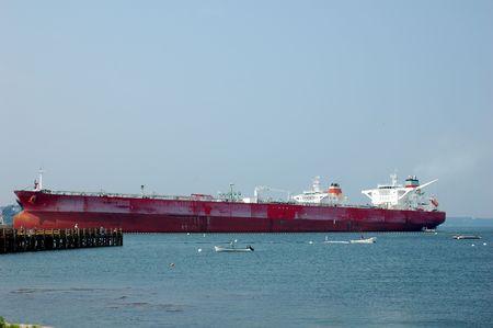 oil tanker offloading in harbor