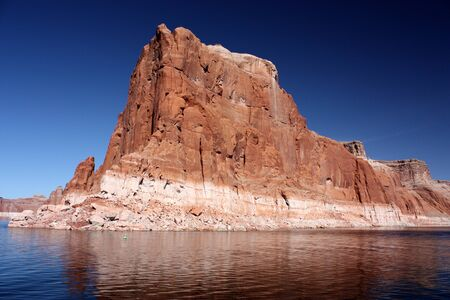 lake powell: Red cliff with reflection on Lake Powell, Arizona