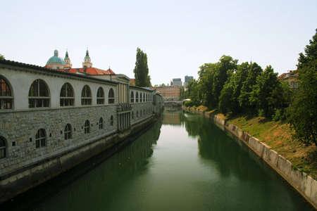 river in ljubljana, slovenia Stock Photo - 2900378