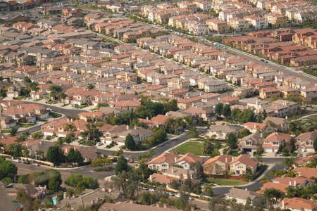 aerial view of southern california homes