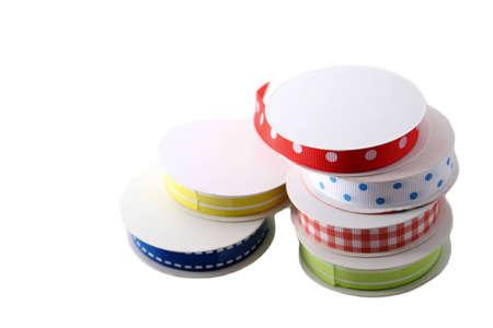 isolated ribbon spools Stock Photo