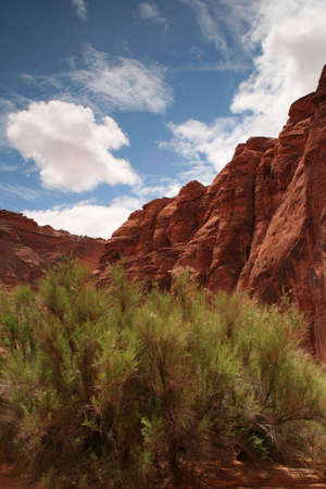 blue skies over a desert cliff in southern Utah Stock Photo