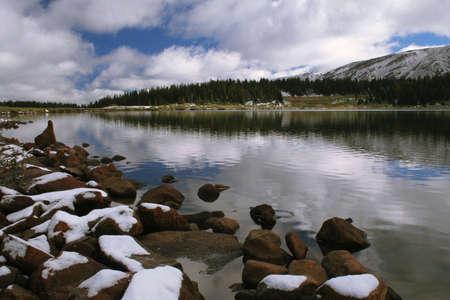 mountain lake after snowfall
