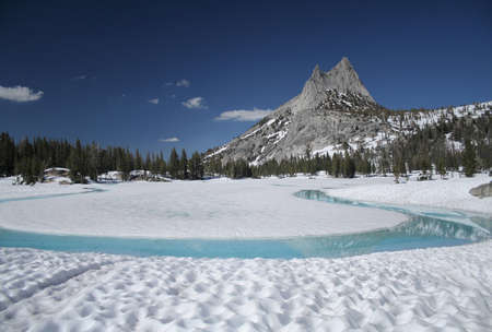 frozen lake: Cathedral Lake and Cathedral Peak