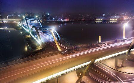 populations: Night view of Dhaka City
