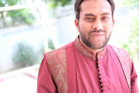dhoti: indian male with shot beard in dhoti dress Outdoor