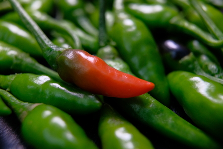 Top view of fresh red hot chili in the middle of green chili Stock Photo