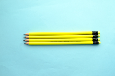 Top view of pensil on Blue background