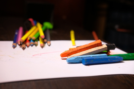 colourful pensil put on table, back to school concept