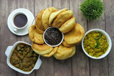 top view of indian curry food on table Stockfoto