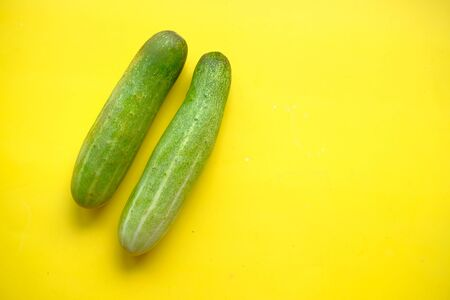 Two cucumbers on an isolated white background Banco de Imagens