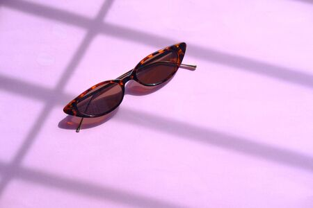 Modern sunglasses on colorful background