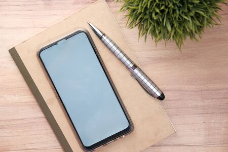 high angle view of smart phone with blank screen Stock fotó