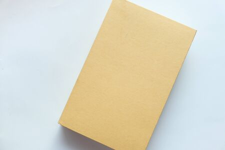 Top view of blank cover on white background