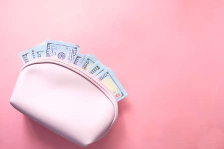 100 dollar cash in leather on pink background
